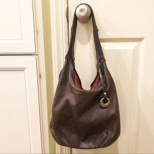 Donald J. Pliner Brown Snakeskin Shouler Bag